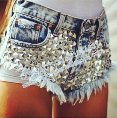 High Waisted Jean Shorts With Studs | Bbg Clothing