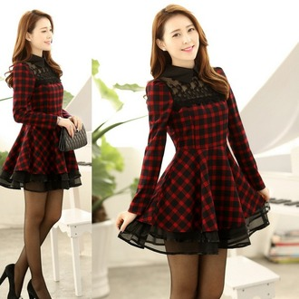 dress plaid black casual fall outfits winter outfits red cute girly asian mesh short see through flirty dress long sleeves