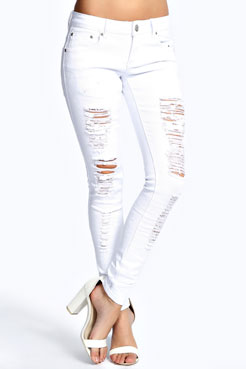 Chloe White Ripped Jeans