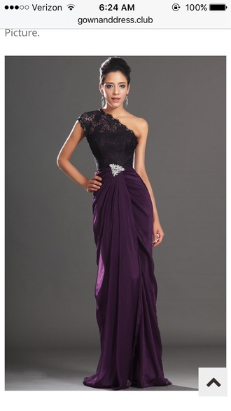 dress cinch one shoulder prom velvet black lace silver waist purple purple dress evening dress gown