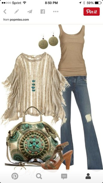 cardigan fringes style boho tank top ripped jeans sandals bag