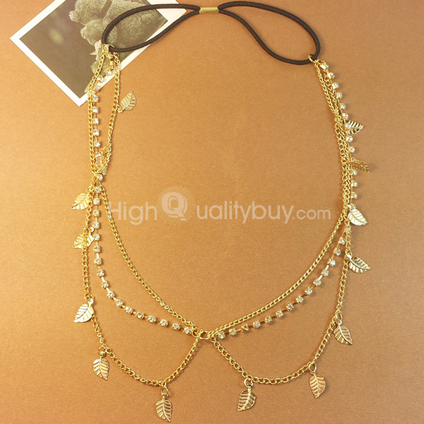 Stunning Gold Leaves Crystal Chain Headband_$10.76