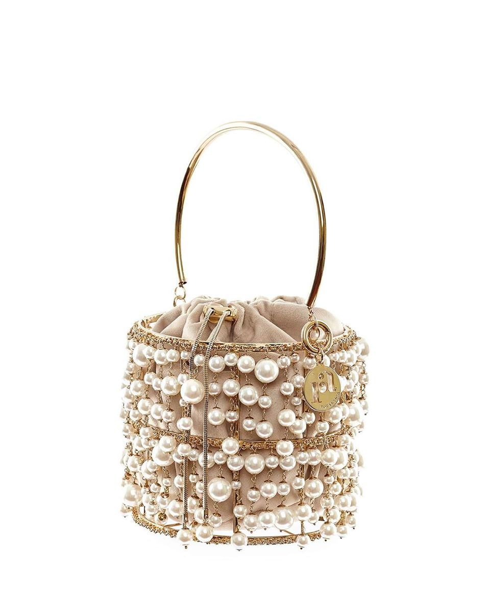 Reah Pearl And Gold Cage Clutch Bag