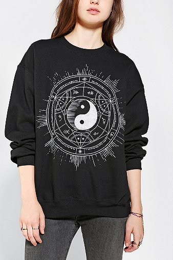 Celestial yin yang pullover sweatshirt at urban outfitters in houston