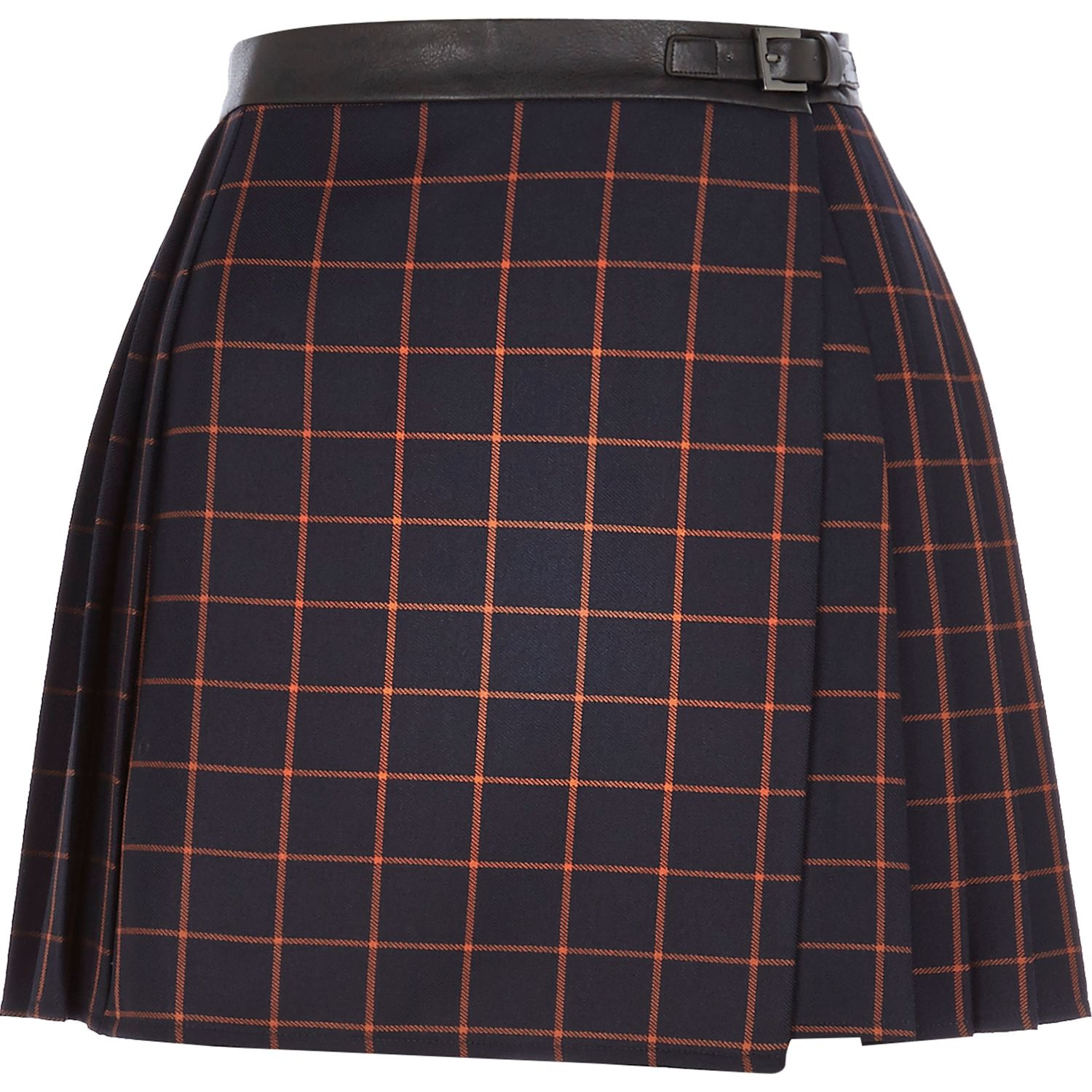 Navy check pleated buckle skirt