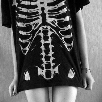 blouse grunge t-shirt black white skeleton teenagers