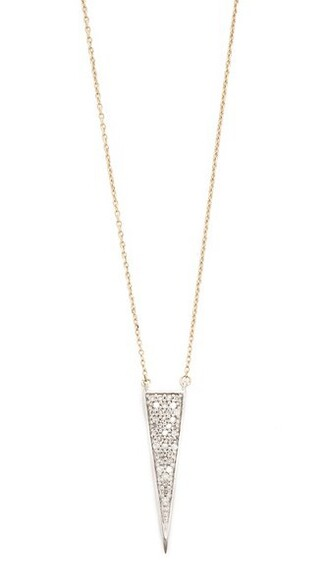 triangle long clear necklace gold jewels