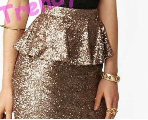 skirt sequins gold peplum blouse