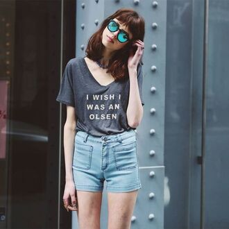 t-shirt olsen grunge grey t-shirt loose tshirt