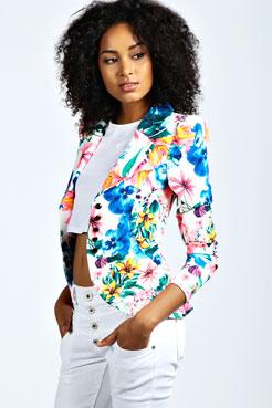 Luisa Neon Floral Blazer at boohoo.com