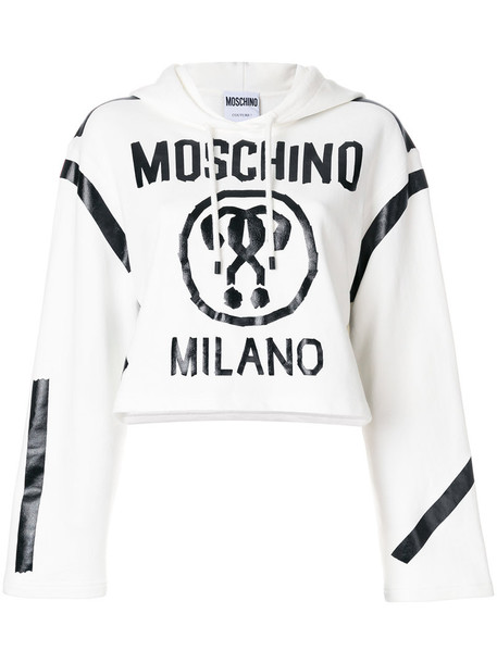 Moschino hoodie cropped hoodie cropped women white cotton sweater
