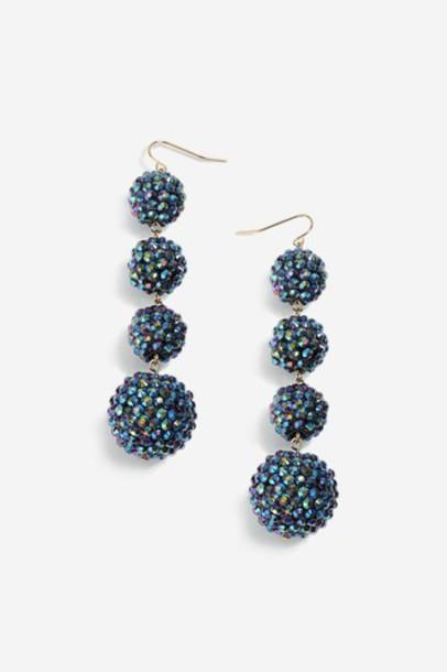 Topshop ball earrings blue jewels
