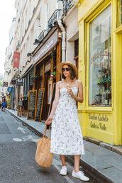 dress,midi dress,bag,sneakers,hat,sunglasses