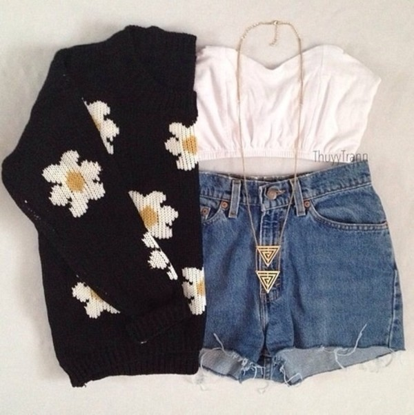 shorts sweater shirt jewels necklace daisy black flowers floral sweater denim white jumpsuit