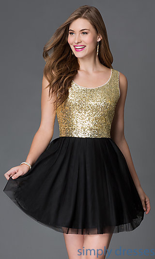 Black And Gold Cocktail Dress With Open Back