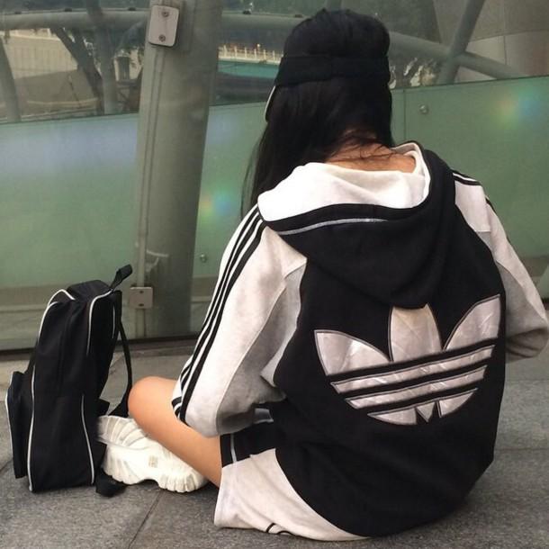 Jacket Adidas Black And White Adidas Jacket Hoodie Urban Fashion Girl Tumblr Girl