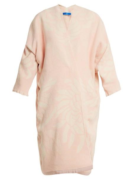 coat jacquard floral cotton white pink
