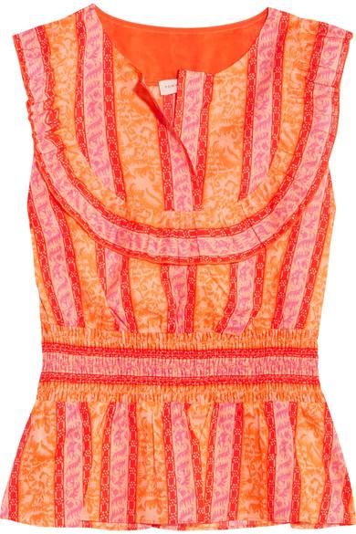 Tory Burch - Sunwise shirred printed cotton-poplin top
