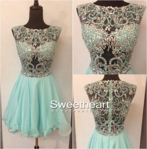Charming round neck rhinestone short homecoming dresses, prom dress
