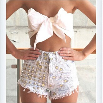 shorts floral studded daisy bow crop tops strapless fashion summer spring denim shirt