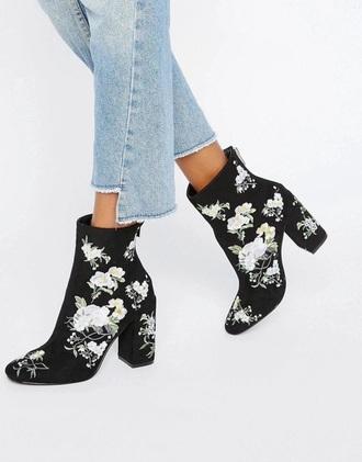shoes boots black black heels asos floral ankle boots