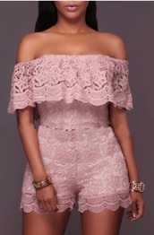 romper,pink,lace,off the shoulder,trendy,girly,fashion,summer,spring