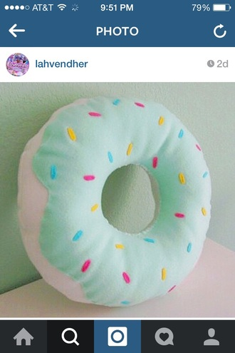 home accessory pillow donut pretty mint pastel sprinkles kawaii girly