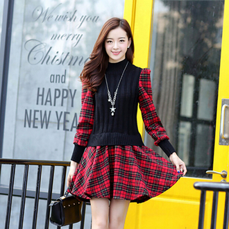 dress plaid black red long sleeves warm cozy adorable outfit cool skater dress