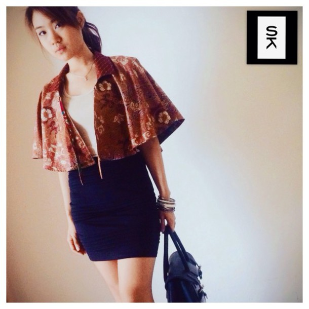 coat batik cape short cape floral cotton cute casual