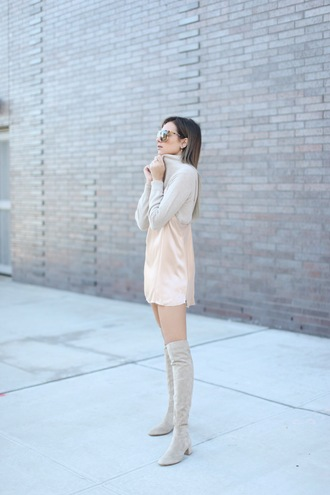 we wore what blogger dress sweater shoes dress over t-shirt thigh high boots grey boots