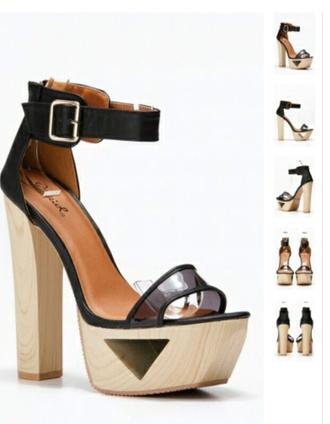 shoes heels cut-out wood high sandals strap gap party clogs