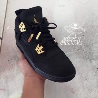 shoes jordans black and gold black jordans high top sneakers black