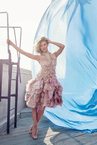 dress romantic summer dress gown prom dress fluffy rosie huntington-whiteley editorial boots