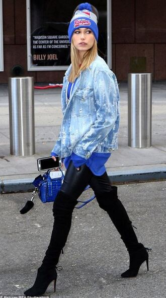 jacket top boots over the knee boots knee high boots hailey baldwin beanie fall outfits purse bag