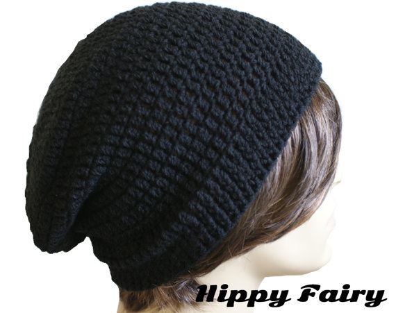 Mens slouchy black beanie  mens slouchy black by HippyFairy
