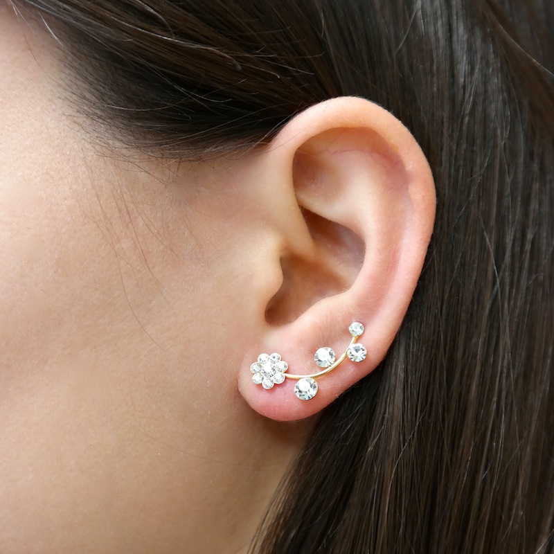 Diamond Flower Ear Cuff at Amorium Jewelry