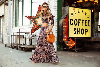 rocky barnes blogger boho maxi skirt crop tops 70s style