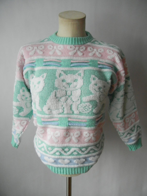 Vintage Cat Sweater, Size XXS-XS, Pastel, Hearts, Bows, Kawaii, Teen, Quirky, Tumblr, 80's