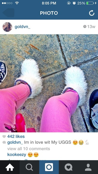 shoes richelle furry furry uggs ugg boots white uggs