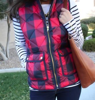 jacket buffalo plaid vest red fashion vest women fashion