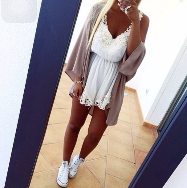 dress cardigan white lace dress romper