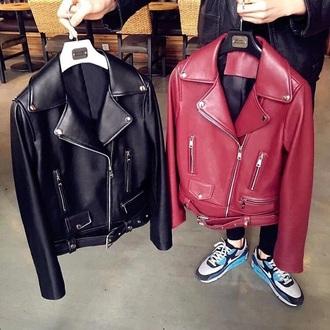 jacket leather kpop korean fashion ulzzang grunge menswear tumblr leather jacket