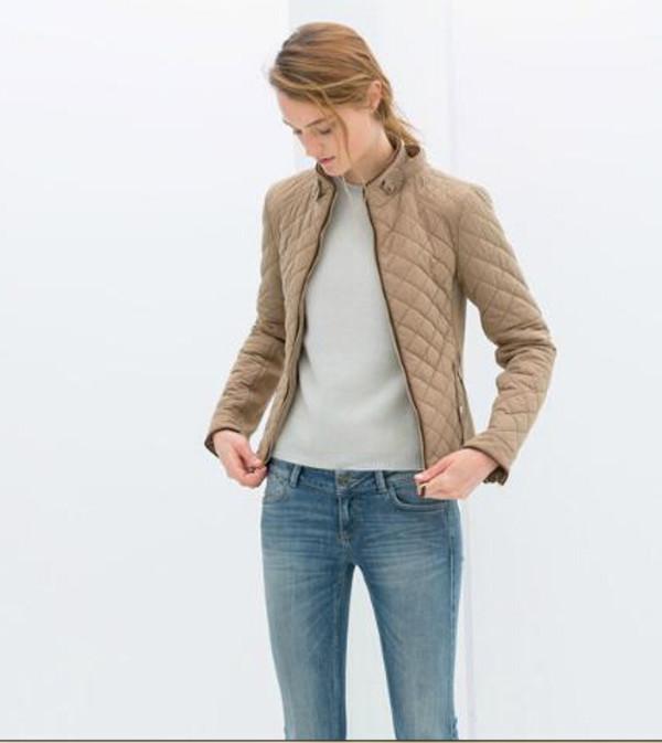 jacket brand zara quilted silver