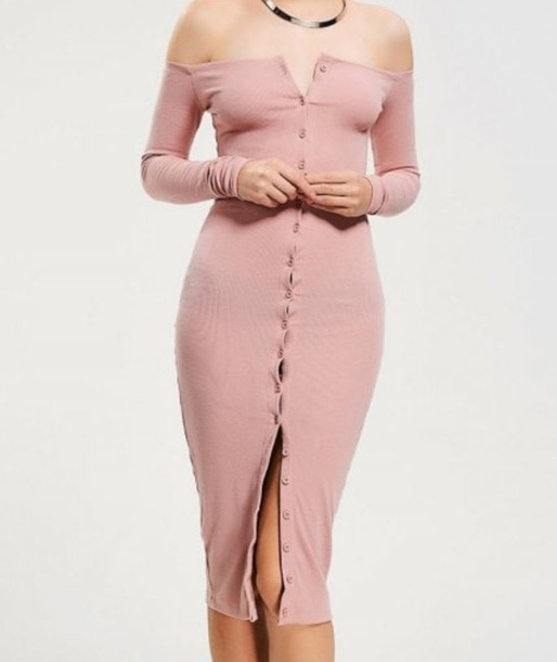 dress girly pink pink dress bodycon dress bodycon button up button up dress off the shoulder off the shoulder dress