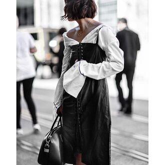 dress tumblr black dress lace up midi dress black midi dress shirt leather dress white shirt bag black bag