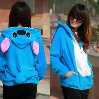 jacket clothes blouse disney lilo and stitch light blue hoodie