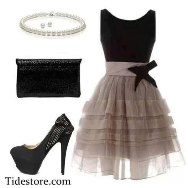 dress black bow grayish brownish brown