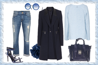 sunglasses ohh couture blogger jeans bag light blue coat navy round sunglasses blue sandals winter outfits