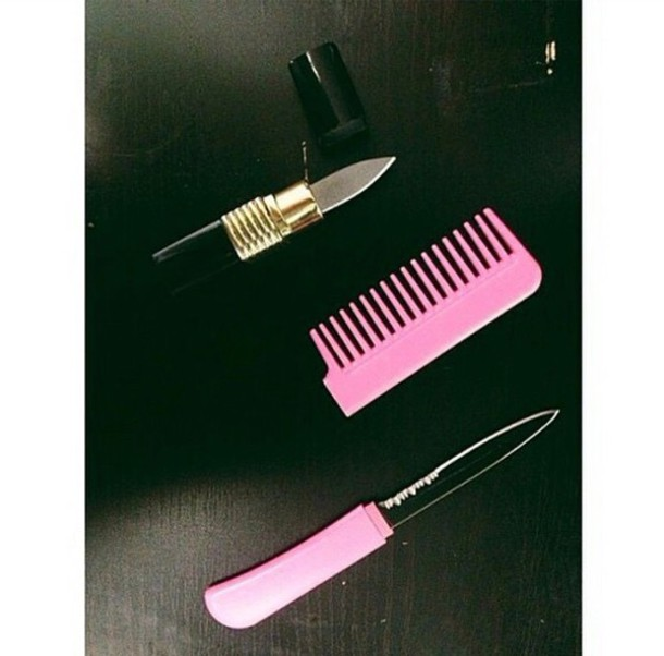hair accessory comb knife hairbrush lipstick