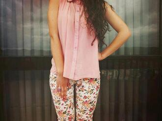 pants floral clothes pink cute sheer blouse cute outfits shirt blouse top floral pants leggings girly flowers too color/pattern spring summer pastel